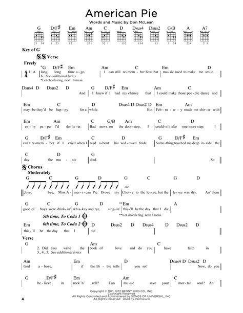 guitar tutorial american pie american pie by don mclean guitar lead sheet guitar
