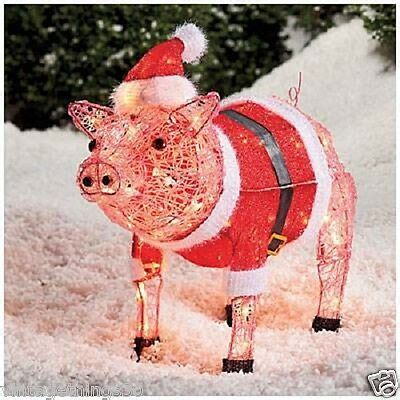 pink christmas pig outdoor decoration outdoor lighted nativity yard display decoration