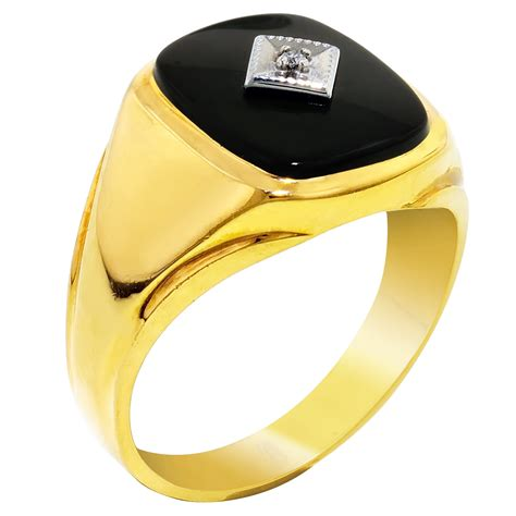 mens onyx ring in 10kt yellow gold with