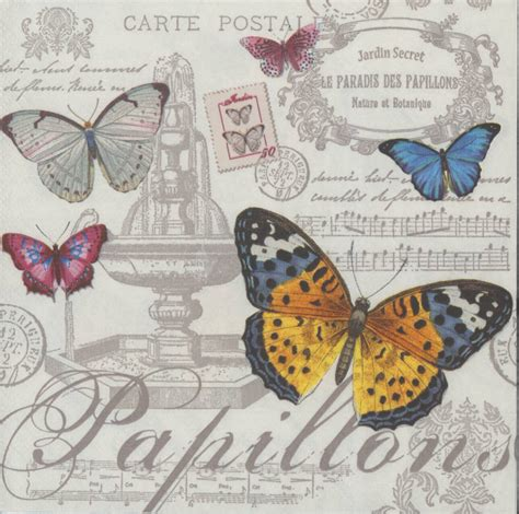 Butterfly Decoupage - decoupage paper napkins of butterflies postcards
