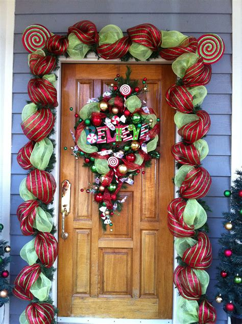 front door decorations with floral mesh ribbon my