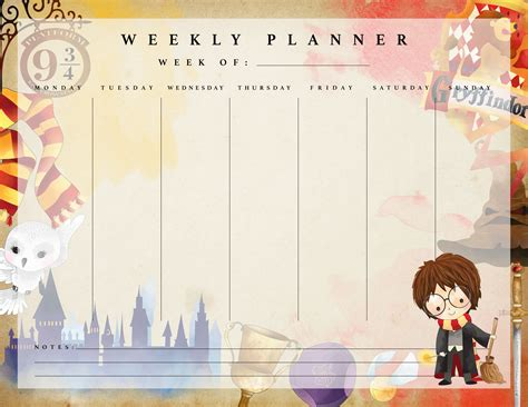 printable weekly planner cards free printable harry potter weekly planner the cottage