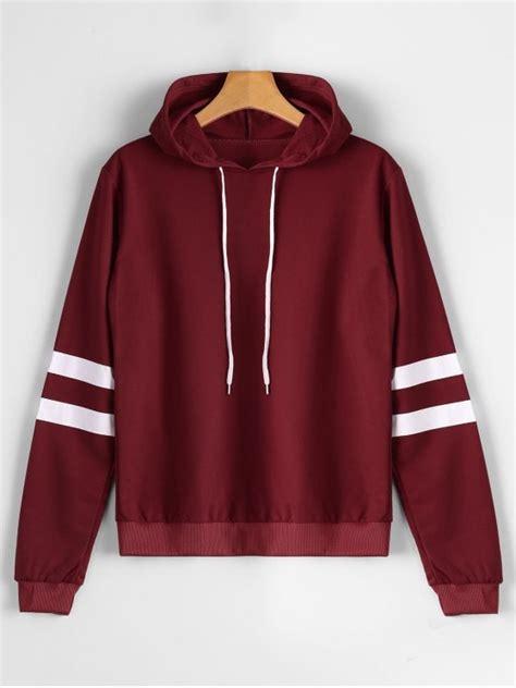 Hodie Vina casual stripes panel hoodie vino rojo s zaful
