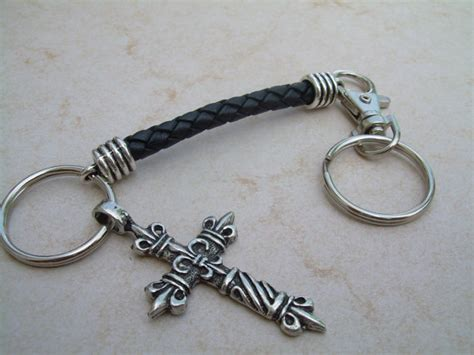 braided leather keychain braided leather cross keychain cross cross keychain by