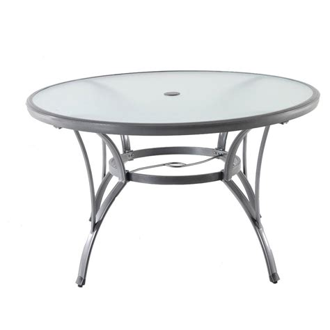 Glass Outdoor Dining Table Hton Bay Commercial Grade Aluminum Grey Glass Outdoor Dining Table Fta60762g The Home