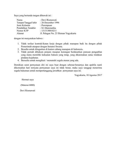 contoh surat pernyataan yang benar download contoh surat pernyataan diri yang baik dan benar