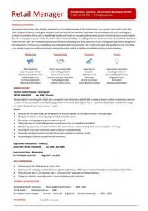 Retail Manager Resume Template by Retail Manager Cv Template Resume Exles Description