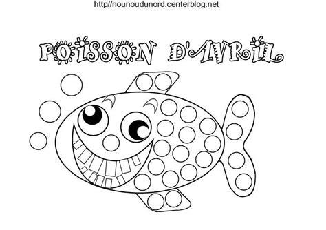 dessin bateau gommettes coloriage poisson avril