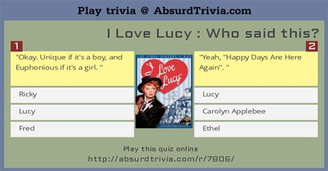 i love lucy trivia quiz trivia quiz i love lucy who said this