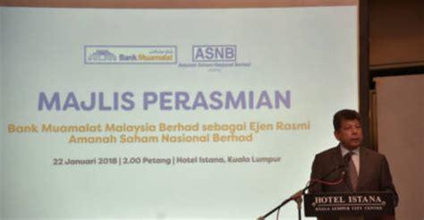 bank muamalat malaysia appointed  asnb agent