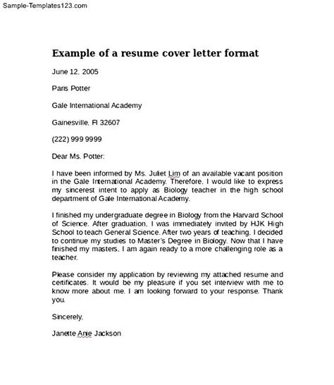 Example Of A Resume Cover Letter Format   Sample Templates