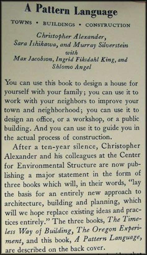 pattern language book beautiful architecture and language on pinterest
