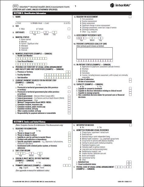 Interrai Mental Health Mh Assessment Form 9 1 Interrai Catalog Comprehensive Mental Health Assessment Template