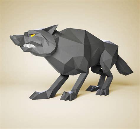 Papercraft Wolf - papercraft wolf diy paper sculpture paper model 3d paper