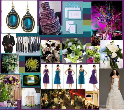 purple plum magenta fuschia teal silver w peacock accents inspiration project wedding