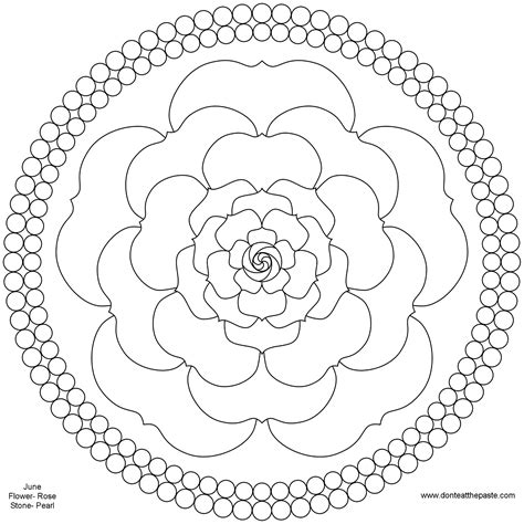 mandala coloring pages roses don t eat the paste june birthstone and flower mandala