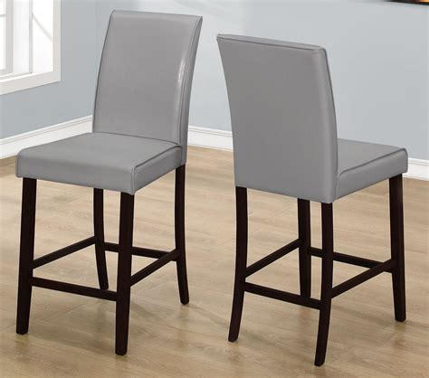 grey leather counter height dining chair set of 2 1902