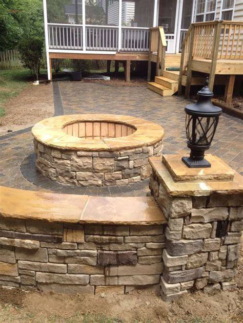 Pavestone Paver Patio Fire Pit And Seat Walls With Pit On Patio Pavers