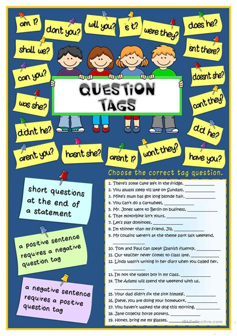 tag questions exercises with verb to be english tag questions exercises with verb to be english