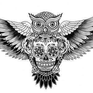 owl tattoo aztec owl sugar skull tattoo pinterest aztec skulls and art