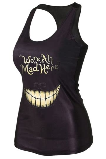 Blouse Import 26147 Smile Casual Top black 3d smile we are all mad here printed tank top