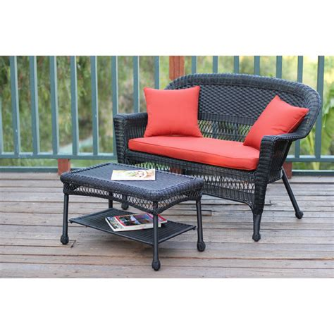 Black Wicker Coffee Table Black Wicker Patio Seat And Coffee Table Set With Brick Brick Cushion
