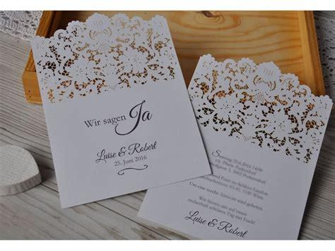Hochzeit Einladung Spitze by Einladungskarte Zur Hochzeit Mit Lasercut Spitze Vintage