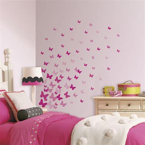 pink flutter butterflies wall decals girls butterfly stickers room decor ebay