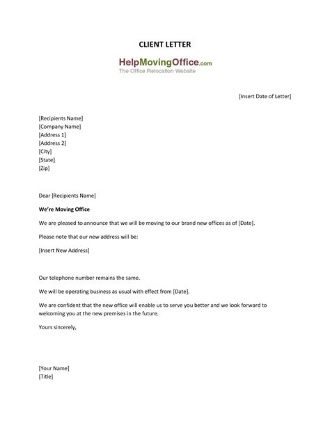 Business Letter Template Change Address Address Change Template Masir