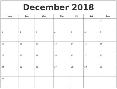 printable calendar monday start december 2018 printable calendar