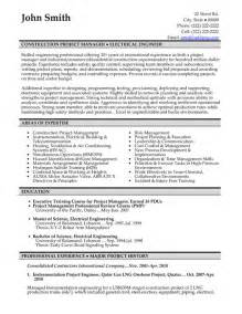 Building Manager Sle Resume by Construction Project Manager Resume Template Premium Resume Sles Exle