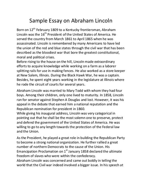 Abraham Lincoln Greatest President Essay by Sle Essay On Abraham Lincoln