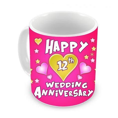 12th wedding Anniversary Gift Coffee Mug