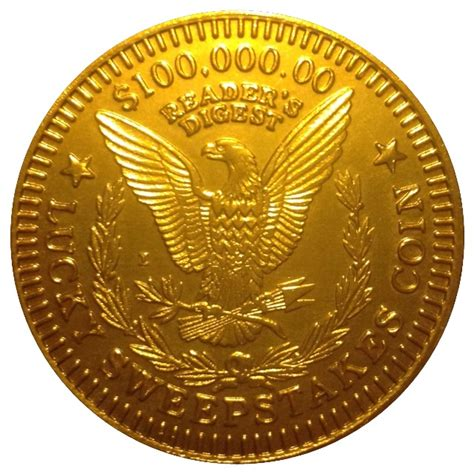 100 000 00 reader s digest lucky sweepstakes coin tokens numista - Lucky Sweepstakes Coin Value