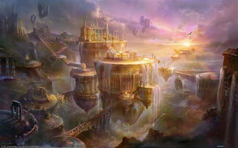 golden village wallpaper fantasy island art cool wallpapers i hd images