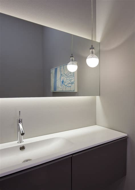 modern bathroom mirrors with lights how did you mount your floating mirror