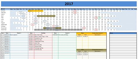 Excel 2017 Calendar