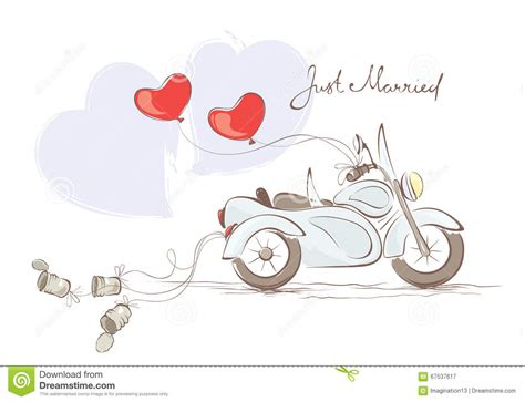Wedding Clip Part by Moto De Mariage Avec Le Sidecar Illustration De Vecteur