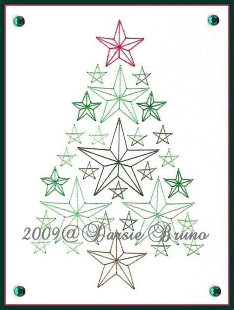 tree card stitch template tree paper embroidery pattern for greeting
