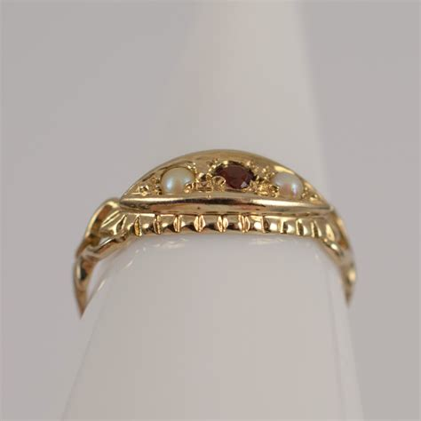 antiques atlas antique edwardian ruby pearl ring 9ct gold