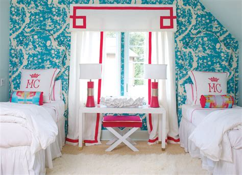 pink and turquoise bedroom kids room with wallpaper on ceiling contemporary girl s room traditional home