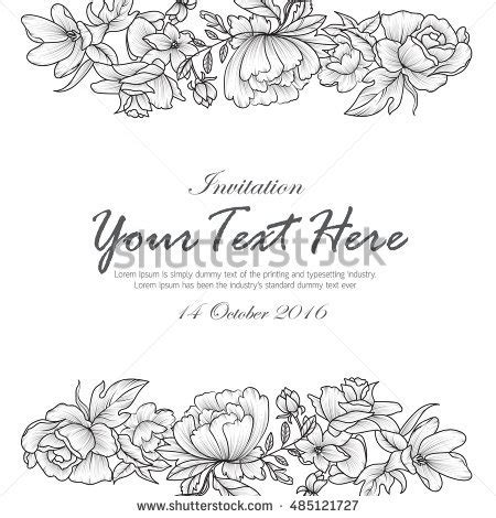 black and white invitation card template draw flowers black white invitation stock vector