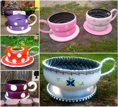 How To Make Recycled Tire Planters diy recycled tire teacup planters
