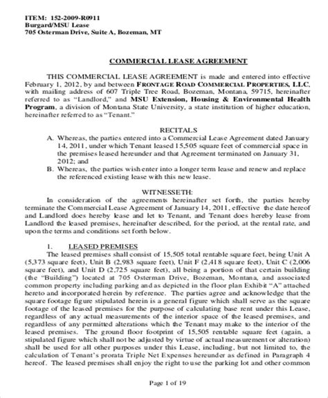 commercial lease agreement in pdf sle commercial lease agreement in pdf 10 exles in