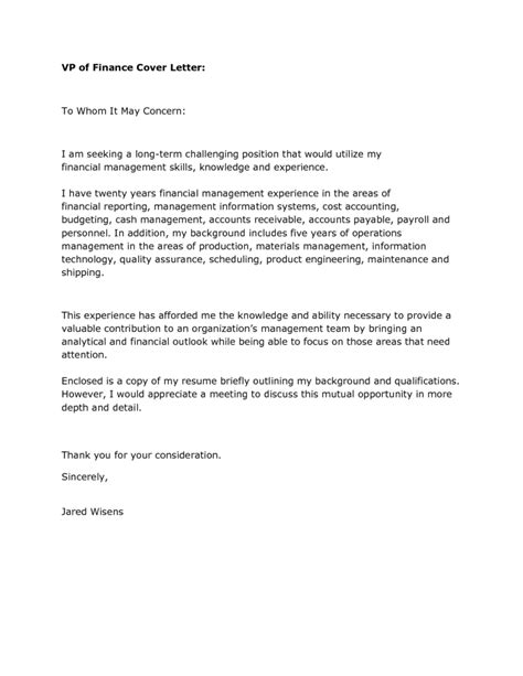 cover letter sle for finance 28 images financial