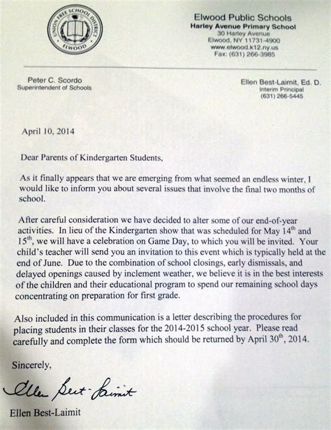 cancellation letter due to weather li school stands firm on decision to cancel kindergarten
