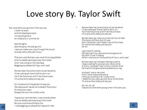 printable lyrics to love story by taylor swift my song lyrics ppt video online download