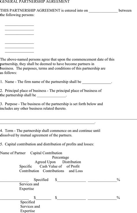 partnering agreement template general partnership agreement template for free
