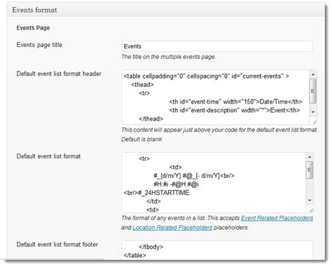 format html placeholder getting started events manager for wordpress