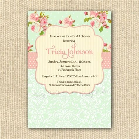 shabby chic bridal shower invitations printable by